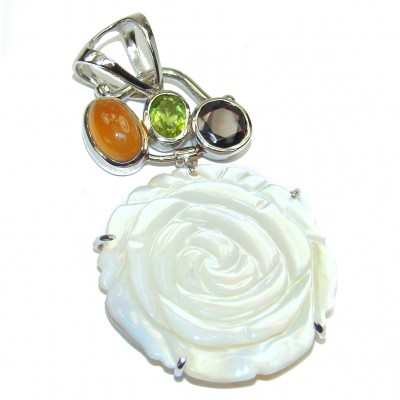 Carved Blister Pearl .925 Sterling Silver Pendant
