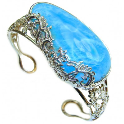 Real Beauty of Nature Blue Larimar .925 Sterling Silver handcrafted huge Bracelet / Cuff