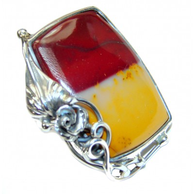 Large Flawless Australian Mookaite .925 Sterling Silver Ring size 7 adjustable