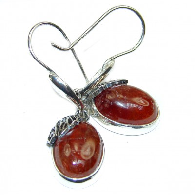 Huge Authentic 32ct hessonite Garnet .925 Sterling Silver handmade earrings