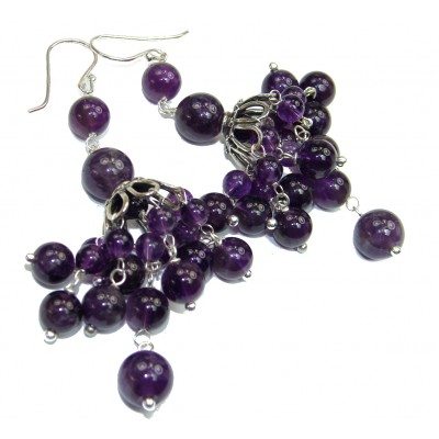 Bohemian Style genuine Amethyst .925 Sterling Silver handmade earrings