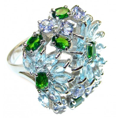Huge Aquamarine Chrome Diopside .925 Sterling Silver handcrafted ring size 9