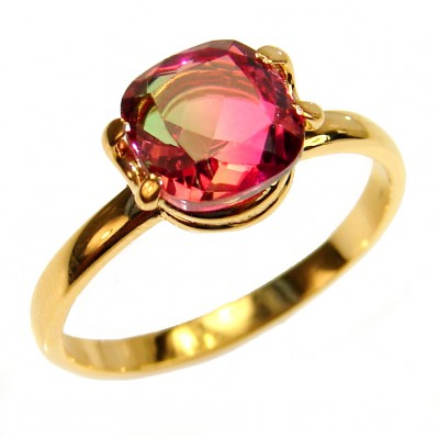 4.7 Watermelon Tourmaline 18K Gold over .925 Sterling Silver handcrafted Ring size 8