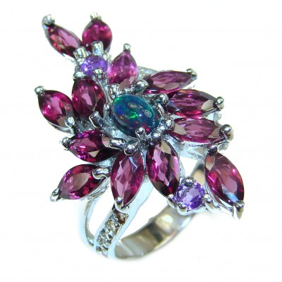Genuine Black Opal Garnet .925 Sterling Silver handcrafted Ring size 9