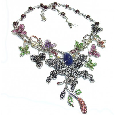 Magnificent Jewel authentic Sapphire Kashmir Ruby Emerald .925 Sterling Silver handcrafted necklace