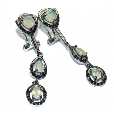 Vintage Style Authentic Ethiopian Fire Opal Spinel .925 Sterling Silver handcrafted earrings