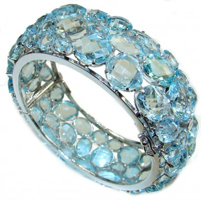 One of the kind Swiss Blue Topaz .925 Sterling Silver handmade bangle Bracelet