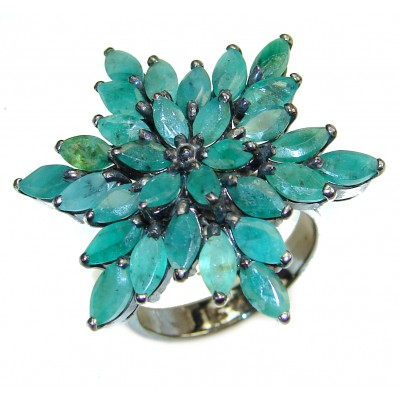 Mia Genuine Emerald .925 Sterling Silver handcrafted Statement Ring size 8