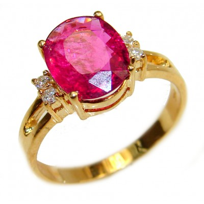 14K yellow Gold 3.17 carat authentic Ruby Cocktail Ring size 7
