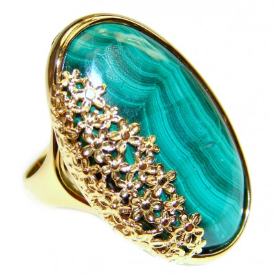Natural Sublime quality Malachite 14k Gold over .925 Sterling Silver handcrafted ring size 8 1/2