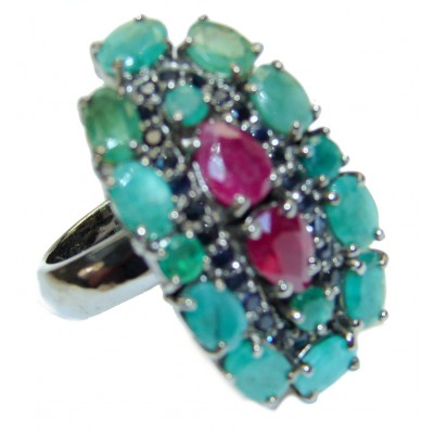Incredible quality Ruby Emerald .925 Sterling Silver handcrafted Statement Ring size 8
