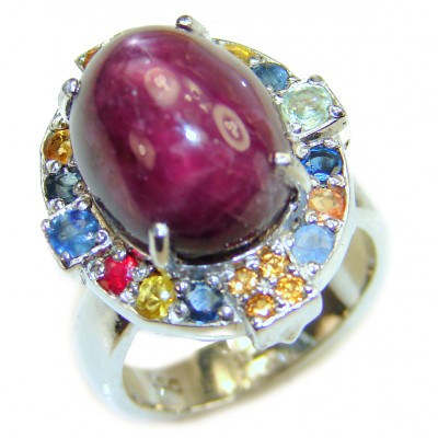 Genuine Ruby Star multicolor Sapphire .925 Sterling Silver handmade LARGE Cocktail Ring s. 8