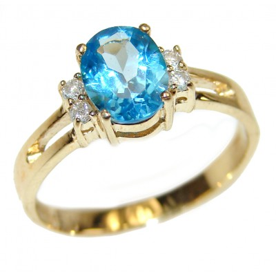 14K yellow Gold 2.85 carat authentic Swiss Blue Topaz Cocktail Ring size 7