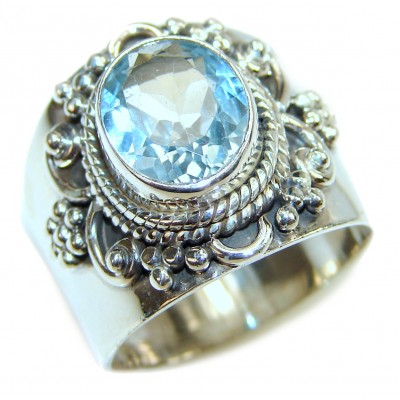 Swiss Blue Topaz black rhodium over .925 Sterling Silver handmade Ring size 8 1/2