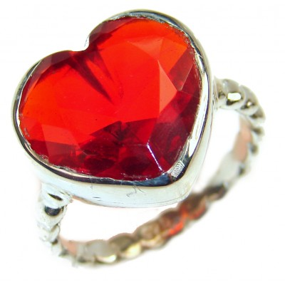Sweet Heart Red Topaz .925 Silver handcrafted Ring s. 7