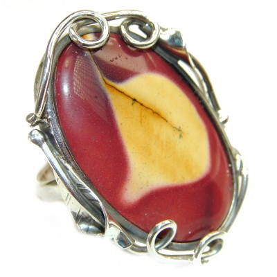 Large Flawless Australian Bracciated Mookaite .925 Sterling Silver Ring size 8 adjustable
