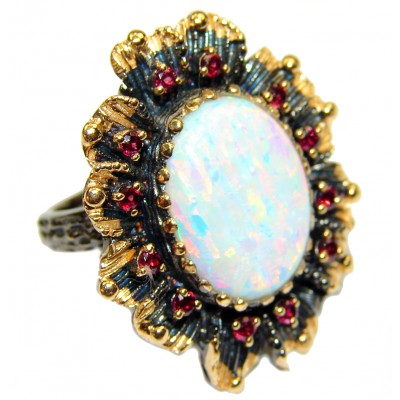 Japanese lab. Opal Gold over .925 Sterling Silver handcrafted ring size 6 1/4