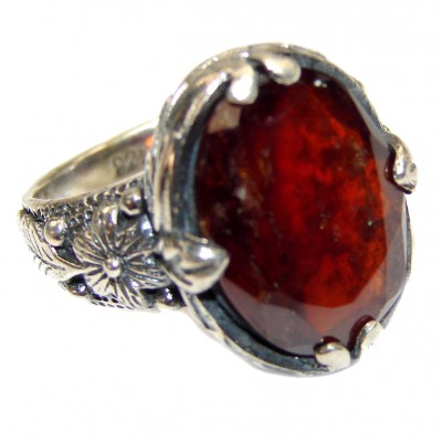 Genuine Ruby .925 Sterling Silver handmade LARGE Cocktail Ring s. 7 1/4