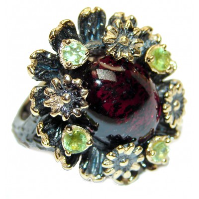 Vintage Design Authentic Garnet .925 Sterling Silver brilliantly handcrafted ring s. 8 1/4