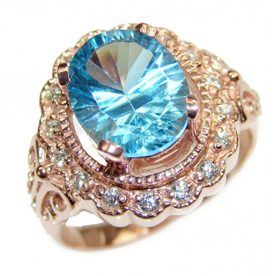 Fancy Swiss Blue Topaz 18k Gold over .925 Sterling Silver handcrafted ring size 8