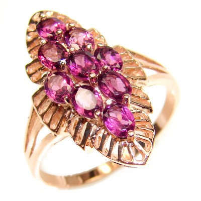 Bouquet of Flowers Authentic Garnet rose gold over .925 Sterling Silver handmade Ring s. 8 1/2