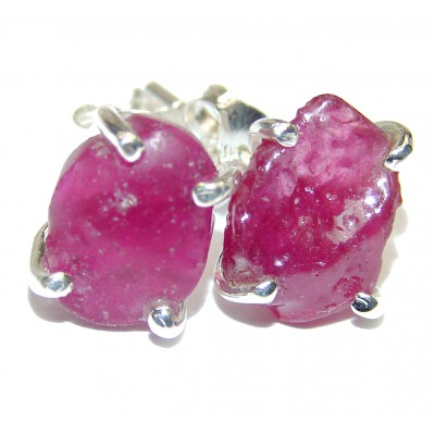 Incredible rough Tourmaline .925 Sterling Silver handcrafted stud earrings