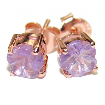 Exclusive carved Amethyst Gold over .925 Sterling Silver Earrings