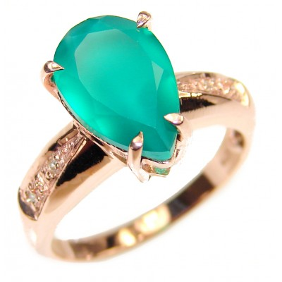 Colombian 7.8 carat Emerald rose gold over .925 Sterling Silver handcrafted Statement Ring size 6 3/4
