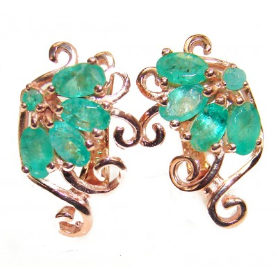 Incredible Beauty Emerald rose gold over .925 Sterling Silver handmade earrings