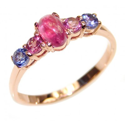 Genuine Ruby Tanzanite 14K Gold over .925 Sterling Silver handcrafted Ring size 7 1/2