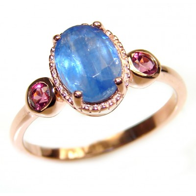 Genuine 2.6ct Sapphire 18K yellow Gold over .925 Sterling Silver handmade Cocktail Ring s. 6 1/4