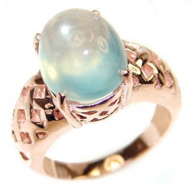 Natural Prehnite 14K Gold over .925 Sterling Silver handmade ring s. 6 1/4