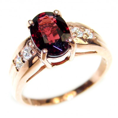 Authentic Garnet rose gold over .925 Sterling Silver handmade Ring s. 8 1/2