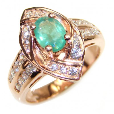 Colombian 0.8 carat Emerald rose gold over .925 Sterling Silver handcrafted Statement Ring size 7 1/4