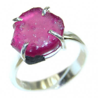Vintage Style Rough Tourmaline .925 Sterling Silver handmade Cocktail Ring s. 7 adjustable
