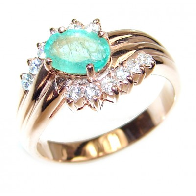Colombian 0.7 carat Emerald rose gold over .925 Sterling Silver handcrafted Statement Ring size 6 1/4