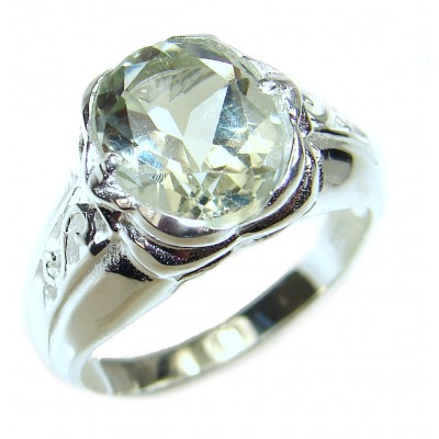 Ravishing 6.5 carat Green Amethyst .925 Sterling Silver handcrafted Statement Ring size 6 1/4