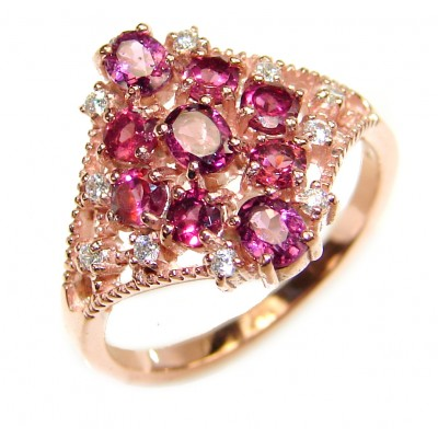 Bouquet of Flowers Authentic Garnet rose gold over .925 Sterling Silver handmade Ring s. 6 1/2