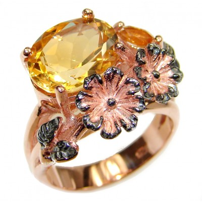 Cocktail Style Natural Citrine .925 Sterling Silver handcrafted Ring s. 6
