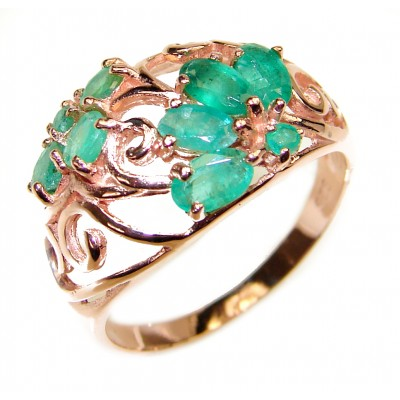 Emerald rose gold over .925 Sterling Silver handcrafted Statement Ring size 8 1/4