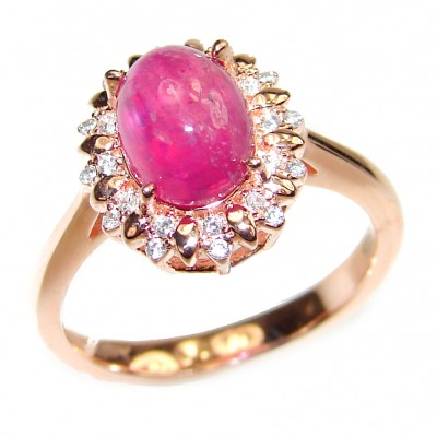 Genuine 4.5 ctw Star Ruby .925 Sterling Silver handcrafted Statement Ring size 7 3/4