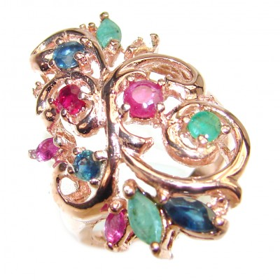 Authentic Emerald Ruby 14K rose over .925 Sterling Silver Ring size 7