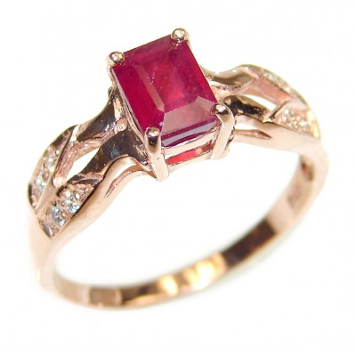 Authentic Ruby rose gold over .925 Sterling Silver handmade Ring s. 8 3/4