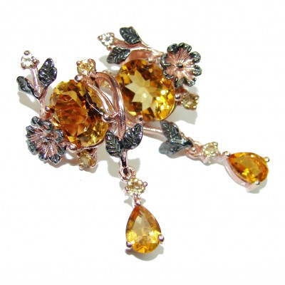Spectacular quality Authentic Citrine 18K Gold over .925 Sterling Silver handmade earrings