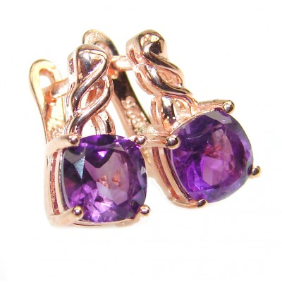 Exclusive Amethyst Rose Gold over .925 Sterling Silver Earrings