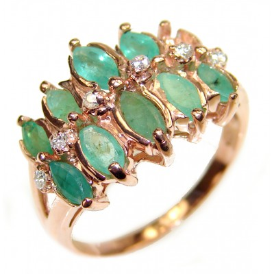 Emerald rose gold over .925 Sterling Silver handcrafted Statement Ring size 7