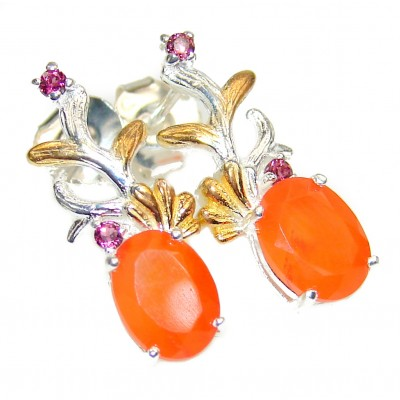 Dazzling natural Mexican Fire Opal .925 Sterling Silver handcrafted earrings