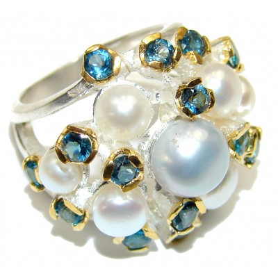 Excellent Pearl London Blue Topaz Gold over .925 Sterling Silver handmade ring size 5 3/4