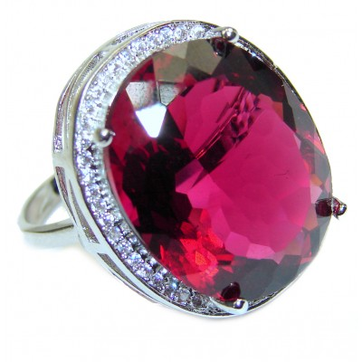 Authentic Red Topaz .925 Sterling Silver ring s. 7 3/4