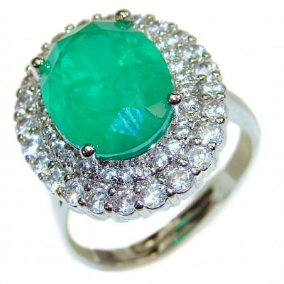 Colombian 12ct Emerald .925 Sterling Silver handcrafted Statement Ring size 7